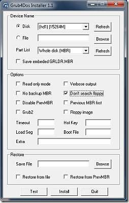 Screenshot grub4dos_gui