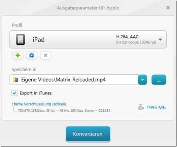 Freemake - Ausgabeparamter für Apple