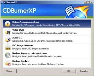 Startmenü von CDBurnerXP
