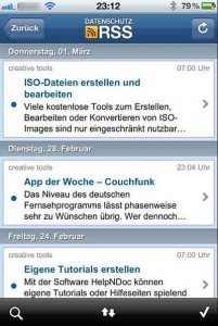 Datenschutz RSS - Datenschutzkonformer RSS Reader für iPhone