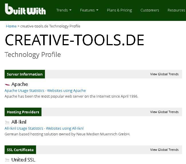 Webseite ausspähen mit bulitwith.com