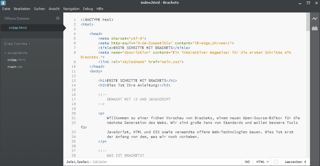 Kostenloser Code-Editor Brackets-Screenshot