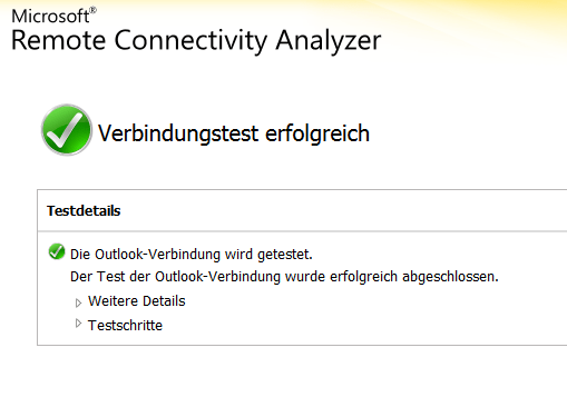 Outlook Anywhere Zugang testen