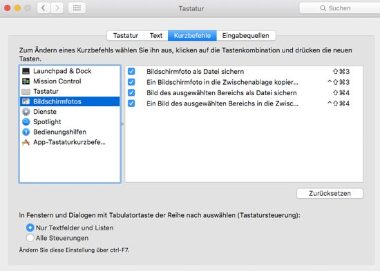 Screenshot mit Mac OS X